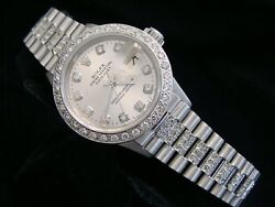 Ladies Rolex Solid 18k White Gold Datejust President Diamond Dial Bezel And Band