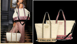 NEW Victoria#x27;s Secret Sparkle Carryall 2018 and Weekender Set 2 Canvas Totes $44.99