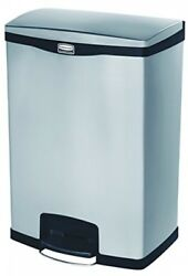 Rubbermaid Commercial Slim Jim Front Step-On Trash Can Stainless Steel 24