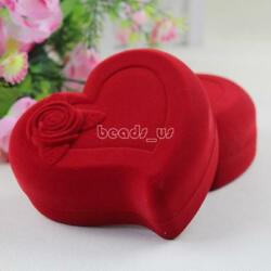 100PCs Heart Red Velvet Jewelry Set Box Earring Necklace 120x120x50mm Hot GIft
