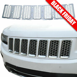 Chrome Front Grill Mesh Grille Cover Inserts For 2014+ Jeep Grand Cherokee 7pc H