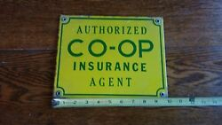 Vintage 1950and039s Coop Co Op Member Farm Feed Seed Gas Porcelain Sign