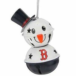Boston Red Sox 2 Tier Snowman Bell Ornament Christmas Tree Holiday Logo NEW