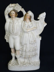 Antique 19c. Staffordshire Staffordshire Pottery Flat Back Group Musician 17