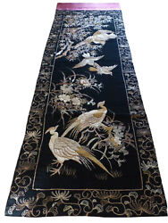 Antique Japanese Gold Thread Embroidered Silk Huge Panel 129.5 L By 39.5 W