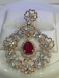 3.32 Cts Round Brilliant Cut Natural Diamonds Ruby Pendant In Solid 14karat Gold