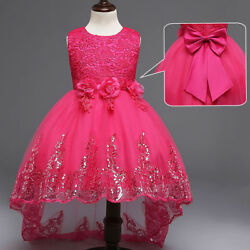 Kids Flower Girl Bow Princess Dress for Girls Party Wedding Bridesmaid Gown ZG9