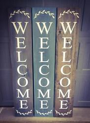 Farmhouse Welcome Sign - Porch Entryway Vertical Sign - Choose Your Size Color