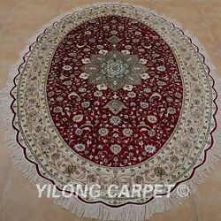 YILONG 6'x9' Handwoven Persian Silk Area Rugs Oval Ellipse Red Home Carpets 0969