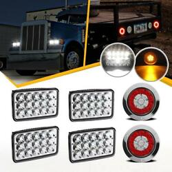 4x 6x4 Inch Led Headlight + 2x 4 Inch Round 16 Led Trailer Lorry Brake Tail Stop
