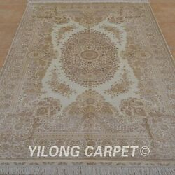 YILONG 6'x9' Persian Handmade Silk Rug Beige Living Room Foyer Home Carpet 0992