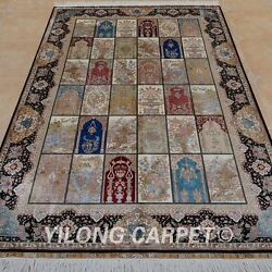 YILONG 6'x9' Persian Silk Handmade Rug Four Seasons Home Office Carpet 0727