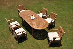 A-grade Teak 7pc Dining 94 Oval Table 6 Lagos Arm Chair Set Outdoor Patio