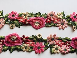 Floral Embroidered Border Ribbon Lace Trim for Sewing Crafts Bridal 2.5quot; Wide