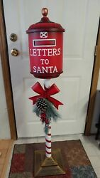 New Santas North Pole Red 4 Ft Mailbox Christmas Letter Postbox La Porte Pick Up