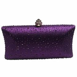 Women Red Color Crystal Decorated Open Pocket Evening Bag Clutch