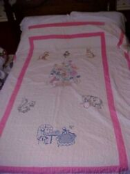 Vintage 1960s Cross Stitch Quilt Animals And Flowers
