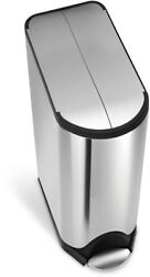 Trash Can Step On Garbage Waste Bin Fingerprint-Proof Brushed Stainless Steel