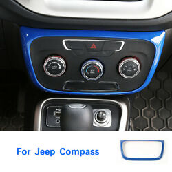 For Jeep Compass 2017+ Air Conditioner Switch Button Frame Cover Trim ABS Blue