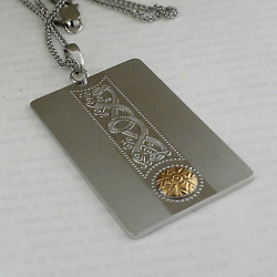 Sterling Silver Celtic Warrior Shield Dog Tag with18K Bead make in Ireland Boru