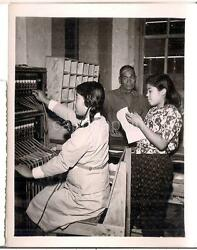 Telephone Switchboard Operator Girl Vintage 1940s Post WWII Photo OKINAWA JAPAN