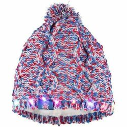 Chicago Cubs Chunky Knit Light Up Logo Beanie Winter Hat Toque Pom Women's