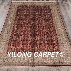 YILONG 6'x9' Handmade Silk Carpet Persian Home Area Rug All-over Pattern L03A