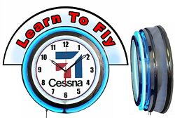 Cessna Aircraft W/ Learn To Fly Red Marquee 19 Blue Neon Clock Mancave