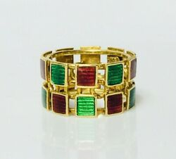 750 18k Gold Green And Red Enamel Wide Band Statement Ring