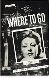August 4 1939 Baltimore Where To Go Magazine Joan Blondell 5½x8½ Inches 16pp