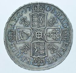 Scarce 1708 Halfcrown Plumes British Silver Coin From Anne Gvf