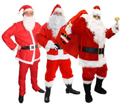 Adults Santa Claus Costumes Deluxe Budget Father Christmas Xmas Fancy Dress Lot