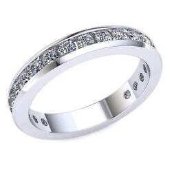 1.05ct Round Natural Cut Diamond Ladies Bridal Eternity With Sizing Bar 18k Gold