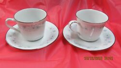 Noritake Inverness 6716 2 Coffee Tea Cup And Saucer Sets Blue Floral Silver Trim