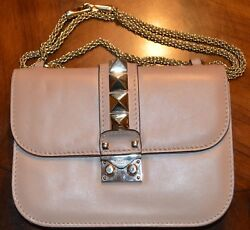 Valentino Stud Rock Handbag Leather Chain Crossbody Beige