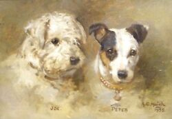 1935 English Dog Double Portrait Joe & Peter West Highland Terrier Jack Russell