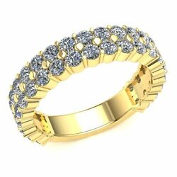 2.15ct Round Diamond Ladies Classic 2row Eternity Band With Sizing Bar 14k Gold