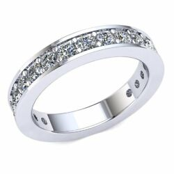 1.2 Ct Natural Round Cut Diamond Ladies Bridal Eternity With Sizing Bar 18k Gold