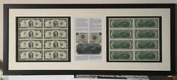 Us Currency Framed Authentic American Currency 2 Bills Uncirculated Currency