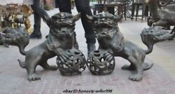 24old China Fengshui Bronze Guardian Evil Foo Fu Dog Lion Play Ball Statue Pair