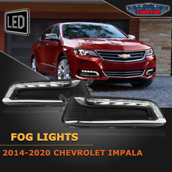 Fit 14-20 Chevy Impala Pair Led Drl Fog Light +wiring+switch Kit Clear Lens