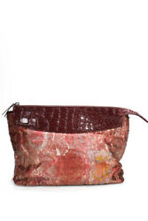 The Row Womens Two For One 12 Jacquard Crocodile Pouch Clutch Handbag Red