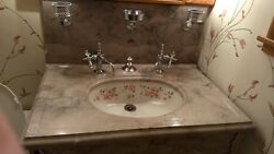 19th Century Bathroom Vanity By Wolf - Painted Porcelain And Marble