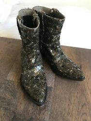 Gianni Barbato Vintage Sequin Cowboy Boots Festive Holiday Wear Army Green
