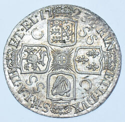 Scarce 1723 Ssc Shilling C/ss In 3rd Quarter British Silver Coin From George I