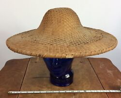 Vintage Oriental Asian Rice Hat Cap Straw Woven Chinese Japanese Vietnamese Wwii