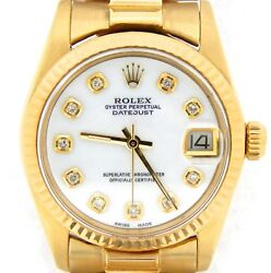 Rolex Datejust 6827 Midsize 18K Yellow Gold President Watch White MOP Diamond