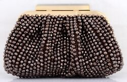 NWT KATE LANDRY BEADED MINAUDIERE FRAME CLUTCH EVENING BAG WITH CHAIN BRONZE