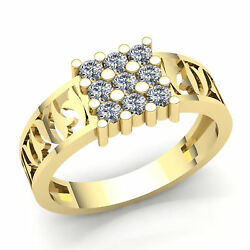 2ctw Round Brilliant Cut Diamond Cluster Menand039s Classic Ring Solid 18k Gold