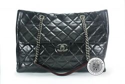 Used Vintage Cc Shopping Black Leather Shoulder Bags Sbhw Authentic